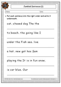 Jumbled Sentences Worksheet