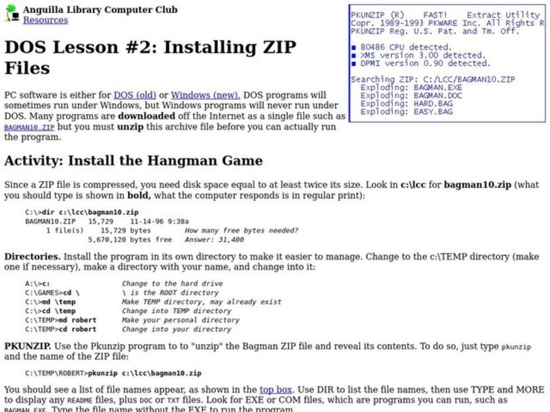 DOS Lesson: Installing ZIP Files Lesson Plan
