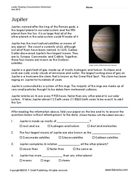 Jupiter Worksheet for 3rd - 5th Grade | Lesson Planet