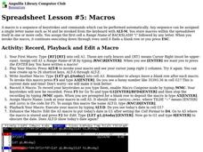 Spreadsheet Lesson #5: Macros Lesson Plan