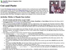 Cut and Paste Lesson Plan