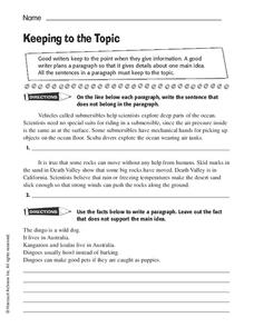 Keeping to the Topic Worksheet