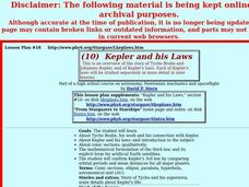 Kepler and his Laws Lesson Plan