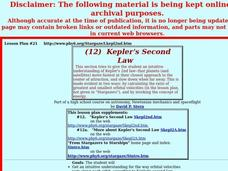 Kepler's Second Law Lesson Plan