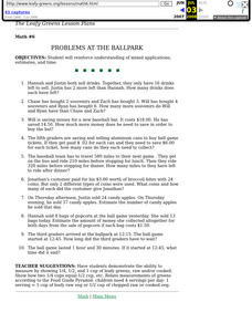 Problems at the Ballpark Lesson Plan