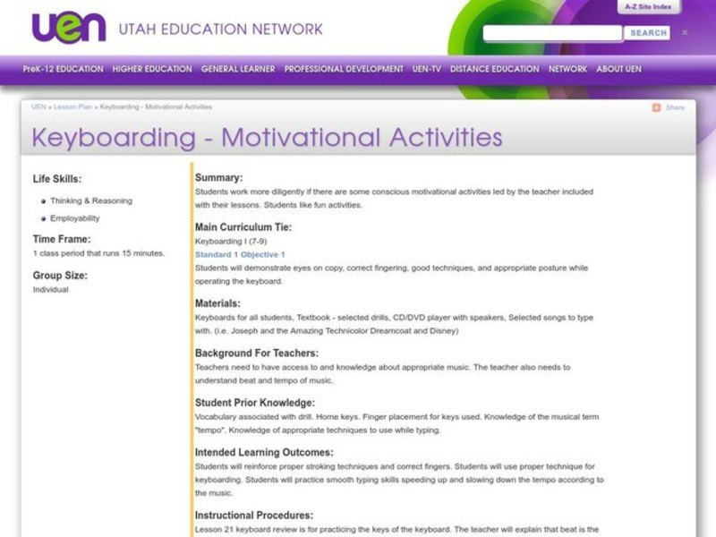 Keyboarding - Motivational Activities Lesson Plan