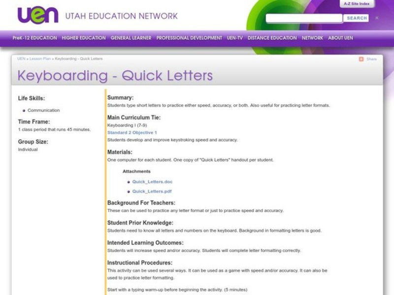 Keyboarding - Quick Letters Lesson Plan
