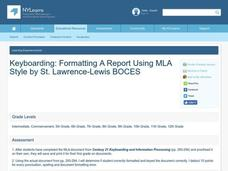 Keyboarding: Formatting A Report Using MLA Style Lesson Plan