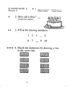 Kindergarten Mixed Math Practice Worksheet