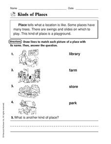 Kinds of Places Worksheet