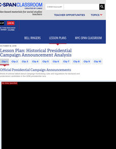 Historical Presidential Campaign Announcement Analysis Lesson Plan