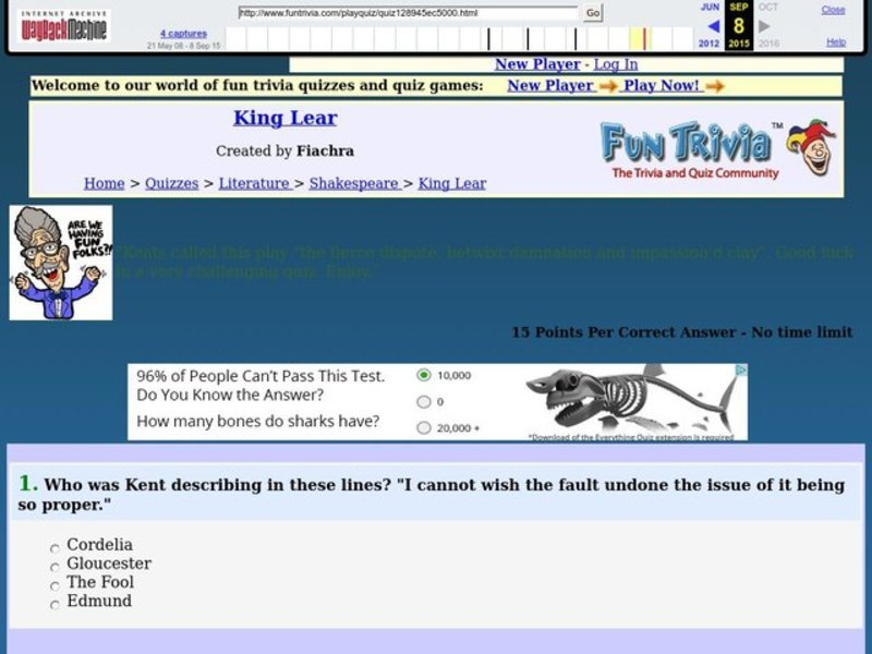 King Lear: Fun Trivia Quiz Worksheet