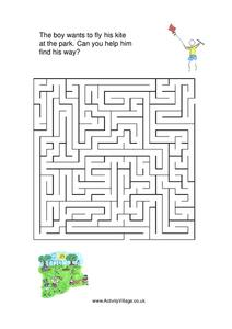 Kite Maze Worksheet