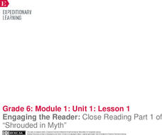 EngageNY Grade 6 ELA Module 1: Myths: Not Just Long Ago