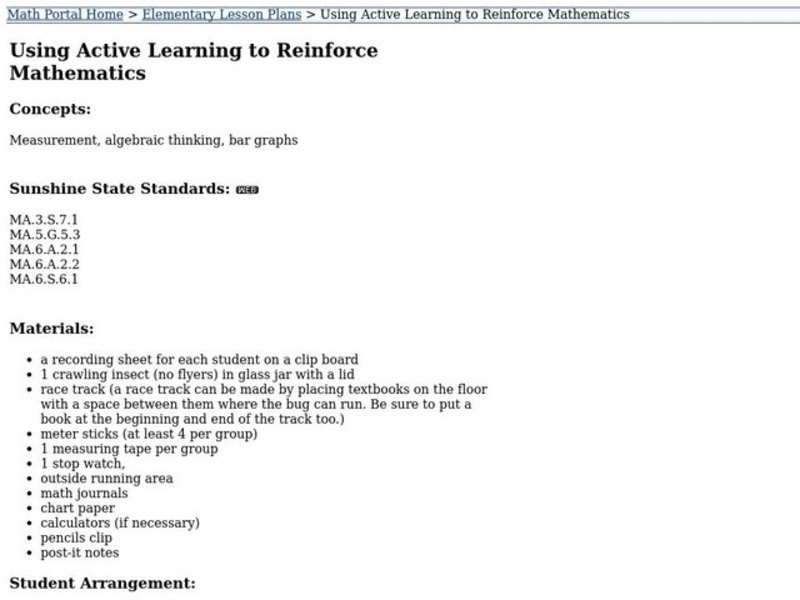 Using Active Learning to Reinforce Mathematics Lesson Plan
