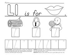 L is For Lips Worksheet
