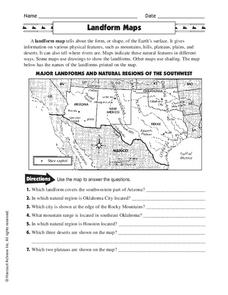 Landform Maps Worksheet