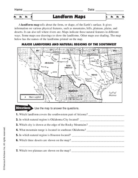 Landform Maps Worksheet For 3rd 5th Grade Lesson Planet