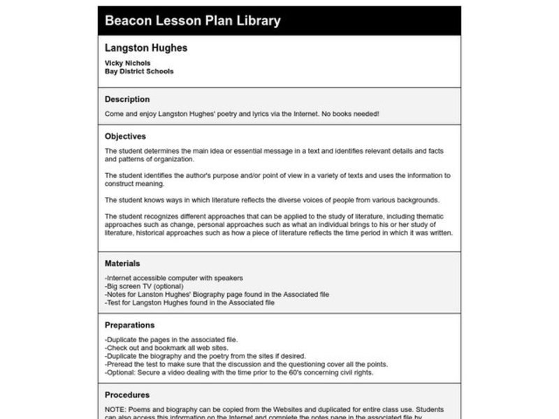 Langston Hughes Lesson Plan