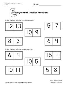 Larger and Smaller Numbers Worksheet