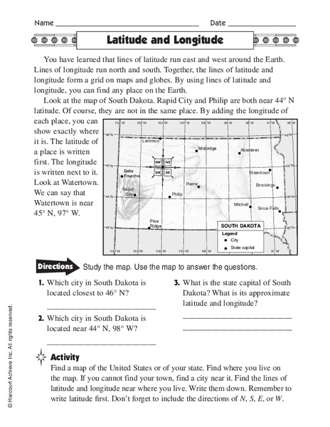 Latitude And Longitude Worksheet For 5th 6th Grade