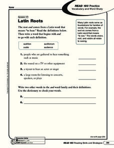 Latin Roots Worksheet