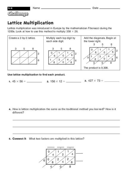 lattice multiplication worksheet for 2nd 4th grade lesson planet. Black Bedroom Furniture Sets. Home Design Ideas