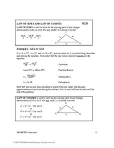 Law of Sines and Law of Cosines Worksheet