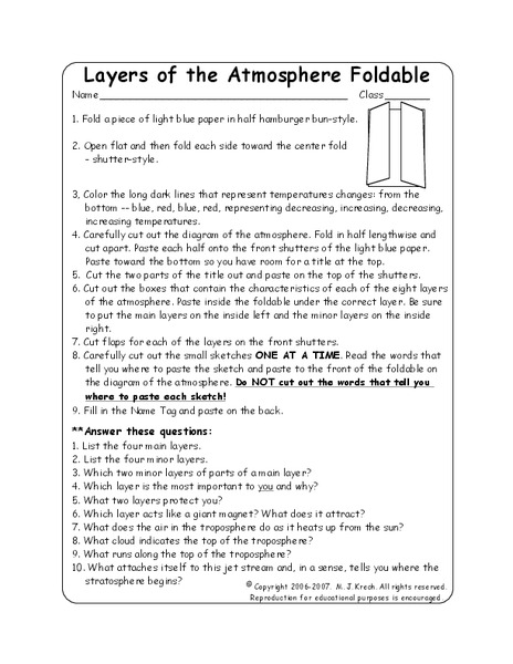 Layers Of The Atmosphere Foldable Worksheet For 7th 9th