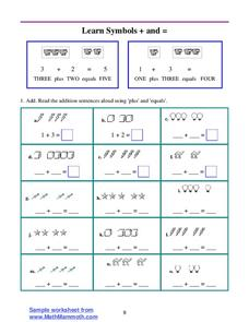 Learn Symbols + and = Worksheet