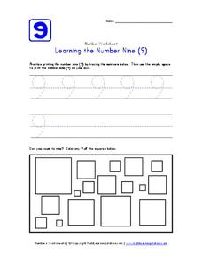 Learning the Number Nine (9) Worksheet