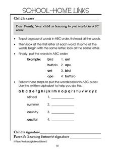Learning to Alphabetize Worksheet