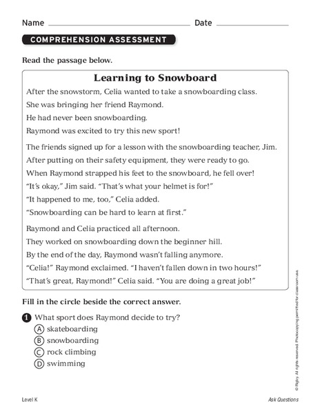 Learning to Snowboard Worksheet