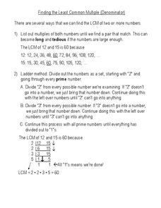 Least Common Multiple Worksheet