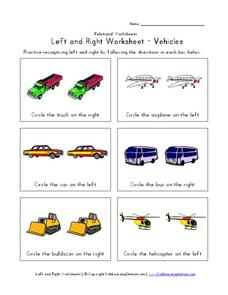 Left and Right Worksheet - Vehicles Worksheet