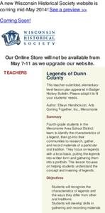 Legends of Dunn County Lesson Plan