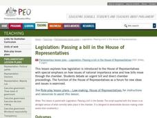 LEGISLATION: Passing a bill in The House of Representatives Lesson Plan