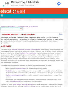 """Children Act Fast...So Do Poisons!"" Lesson Plan"