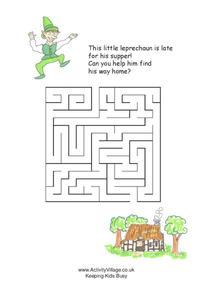 Leprechaun Maze Worksheet