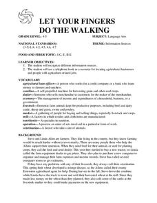 LET YOUR FINGERS DO THE WALKING Lesson Plan