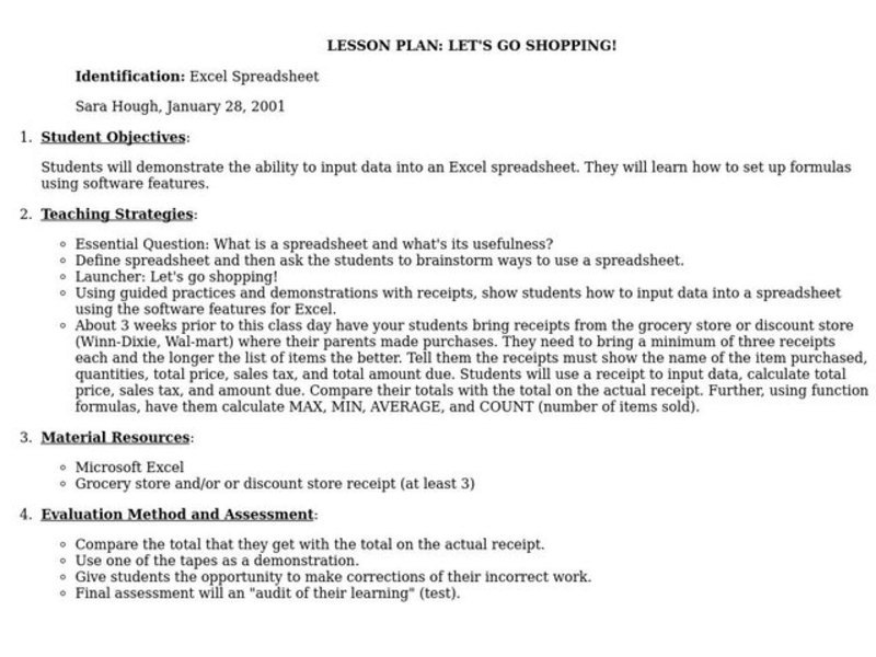 Let's Go Shopping Lesson Plan