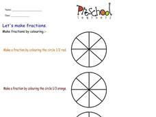 Let's Make Fractions Worksheet