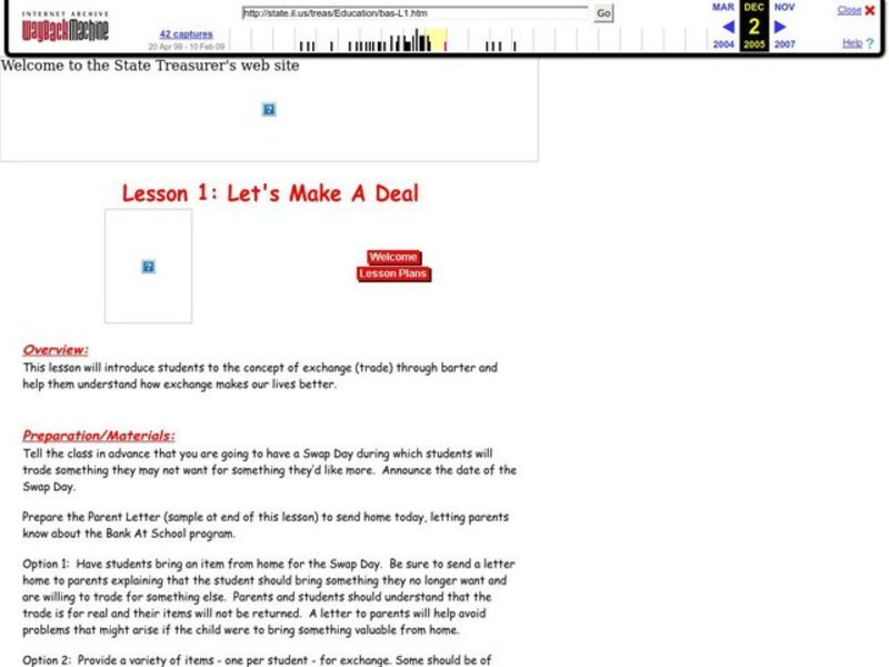 Let's Make A Deal Lesson Plan