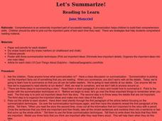 Let's Summarize! Lesson Plan