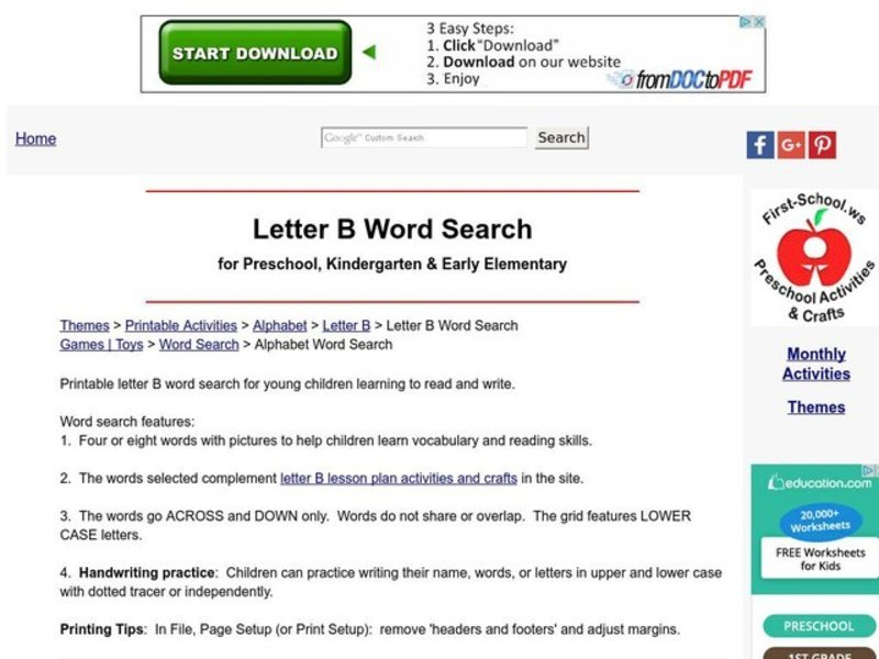 Letter A Word Search Lesson Plan