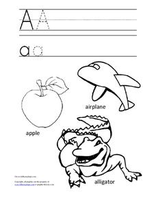 Letter Aa Trace and Color Worksheet