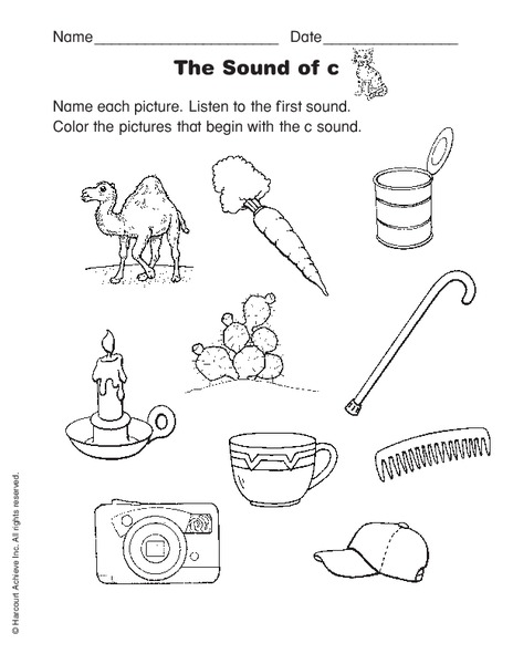 Letter C Sound Worksheet For Kindergarten 1st Grade Lesson Planet