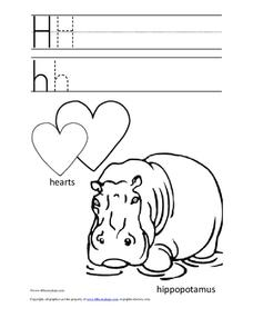 Letter Hh Trace and Color Worksheet