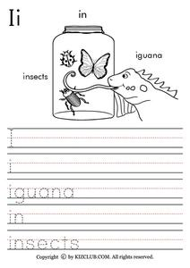 Letter I Worksheet