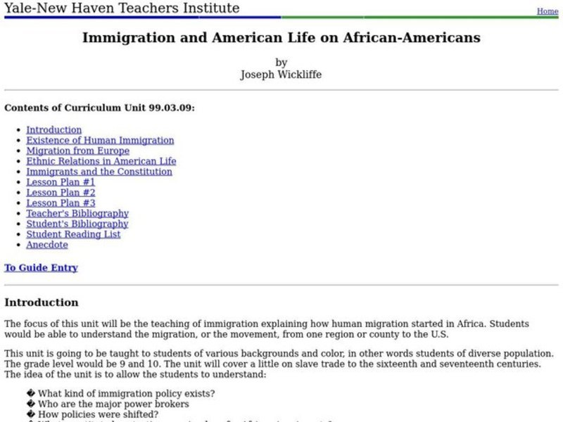 Immigration and American Life on African-Americans Lesson Plan
